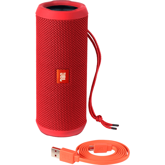 Front view of Red JBL Flip 3 Speaker with cable