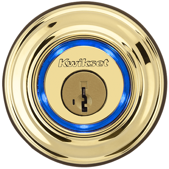 Outdoor view of Brass Kwikset Kevo