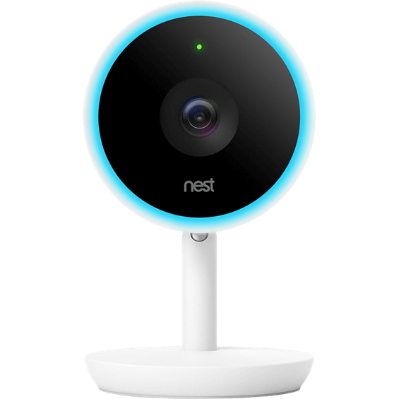Front view of Nest Cam IQ Indoor with light on