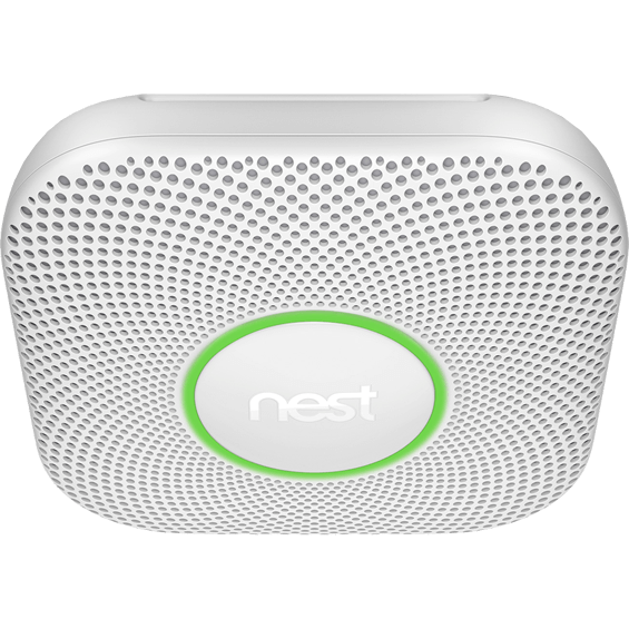 Angle view of Nest Protect smoke and carbon monoxide alarm