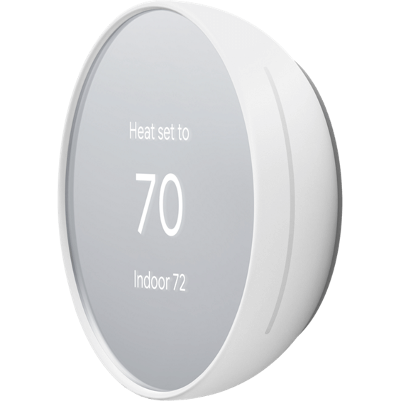 Front left angle view of Nest Thermostat in cotton white