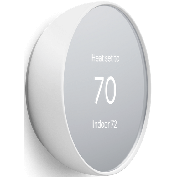 Front right angle view of Nest Thermostat in cotton white