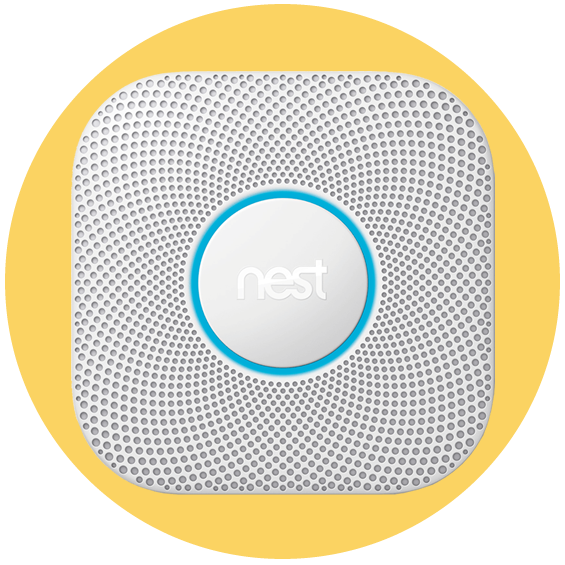 Nest Protect Smake Detector in a yellow circle