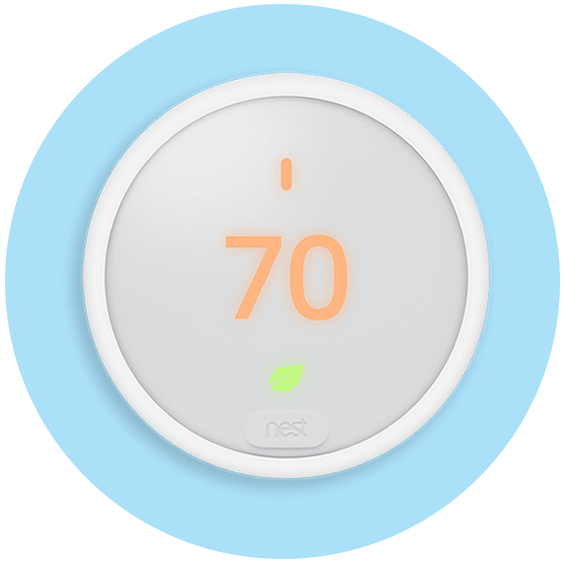 Nest Theromstat E in a blue circle