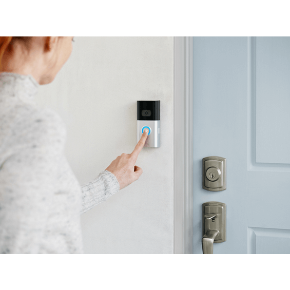 Pressing button on Ring Video Doorbell 3