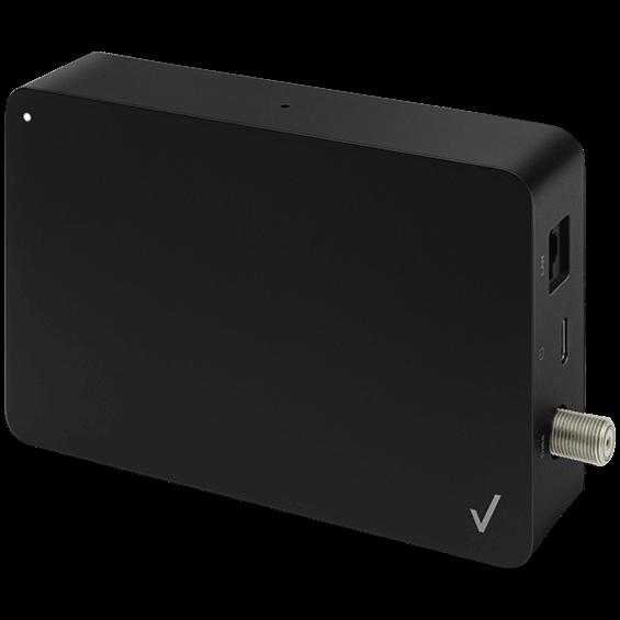 Vista en ángulo vertical del adaptador de Ethernet MoCA Stream TV
