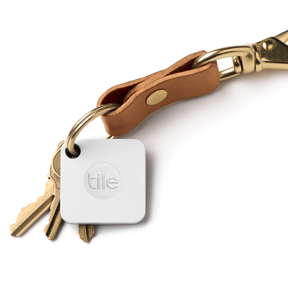 Tile Mate Bluetooth Tracker on a key chain
