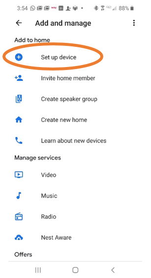 """Google App - Add and Manage Screen with """"Set up device"""" circled."""