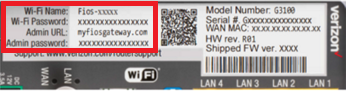 Rear label showing location of device password