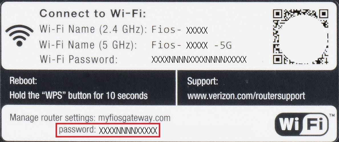 Fios Quantum Gateway label showing location of Wi-Fi password - lower left corner of label on rear of device.