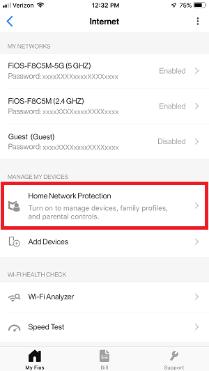 My Fios App - Home Network Protection