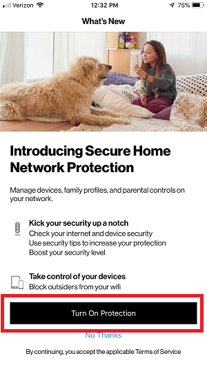 My Fios App - Turn on Home Network Protection