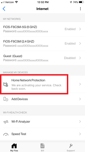 My Fios App - Home Network Protection status