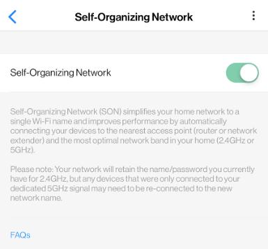 Deslizamiento de botón hacia la izquierda para desactivar la red autorganizada